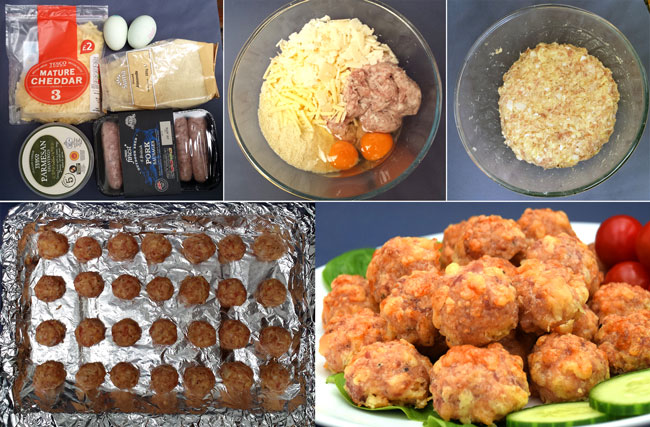 Low-carb sausage balls prep